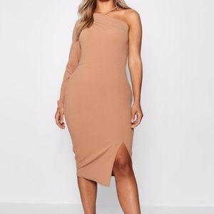 Boohoo Split Front Asymmetric Midi Dress Size 16